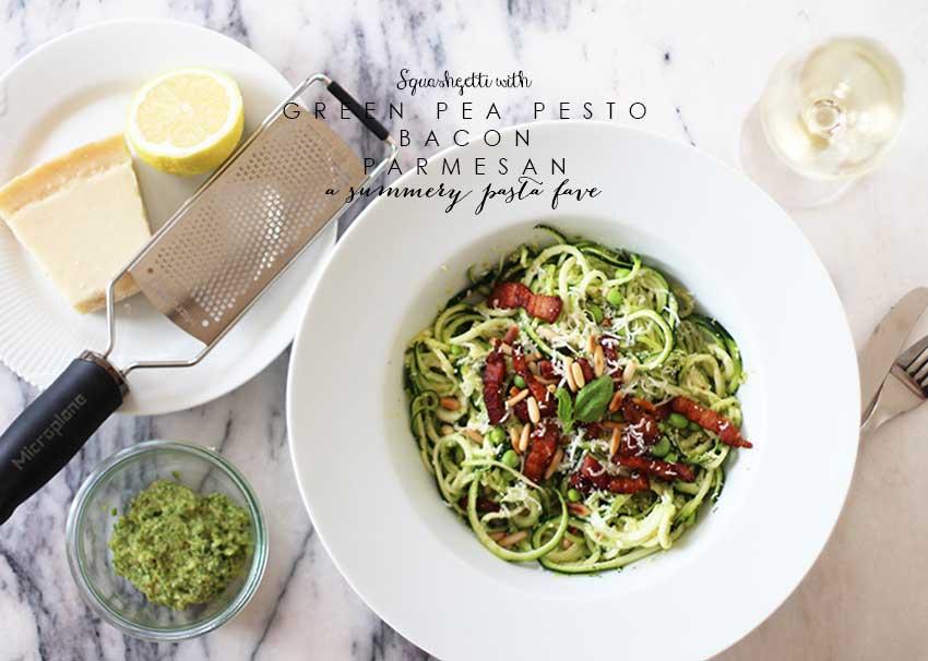 RECIPE <i>Squashghetti with pesto & bacon - lchf</i>