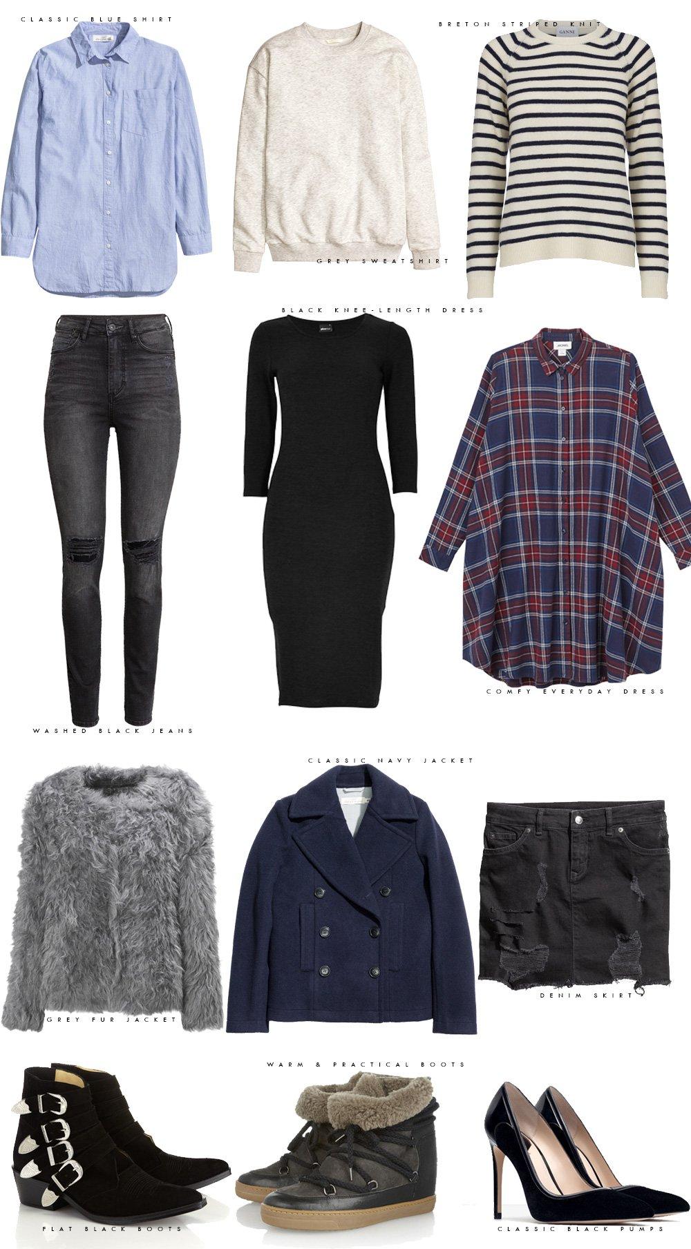 PAKKELISTEN - 12 items, 1 uges outfits..