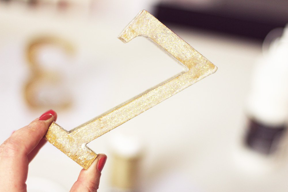 DIY - Gold Glitter Table Numbers..